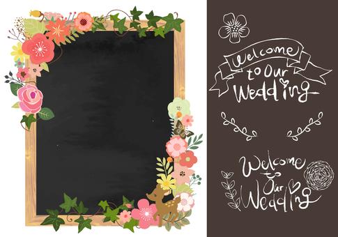 Wedding board Wood frame blackboard
