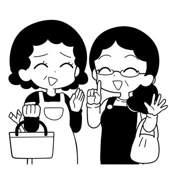 阿姨(中年婦女)長話(黑白)