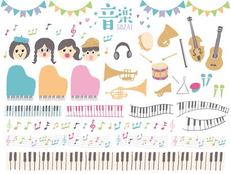 손으로 그린 음악 소재