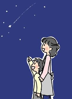 父母和孩子看流星