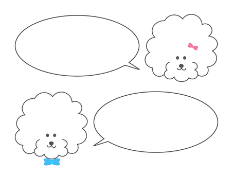 Toy poodle speech bubble set