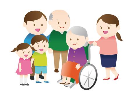 휠체어 할머니와 가족