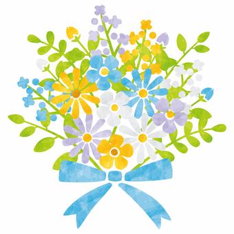 봄 꽃다발 / 녹색 라인