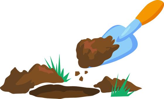 정원의 흙을 파내는 도구