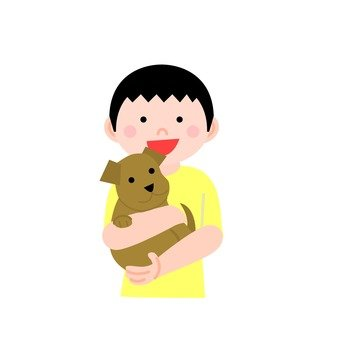 A man holding a dog