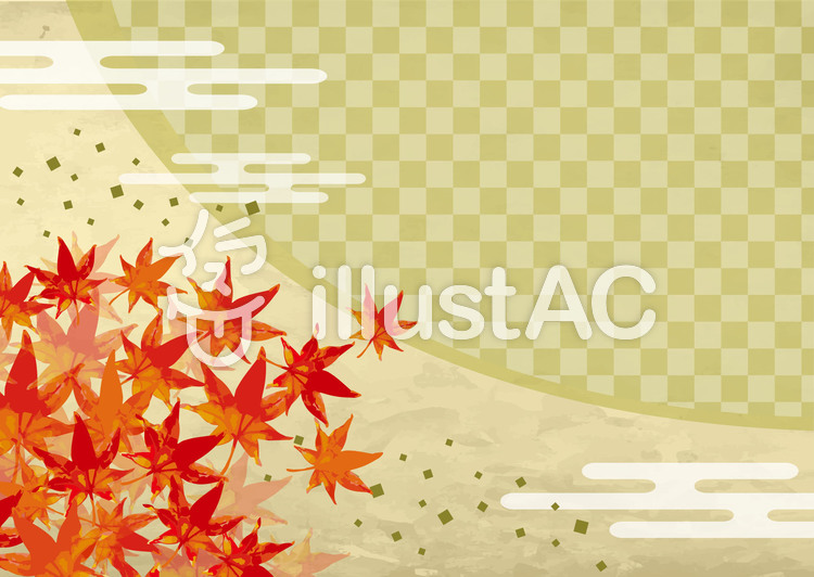 紅葉の和風背景1のイラスト