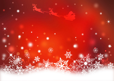 Snow Crystal and Santa _ Red Background 2165