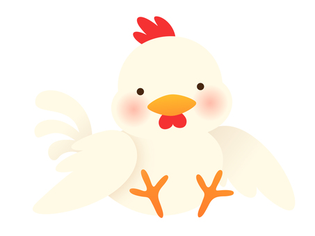 Illustration of a chicken sitting and resting