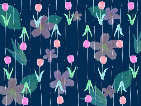 花卉圖案背景海軍