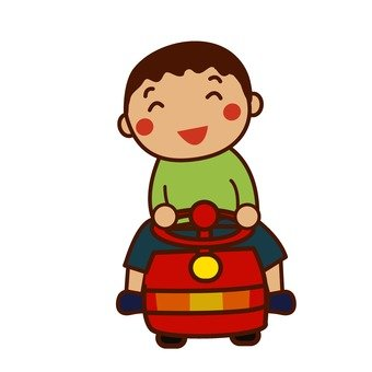 A boy riding a car toy