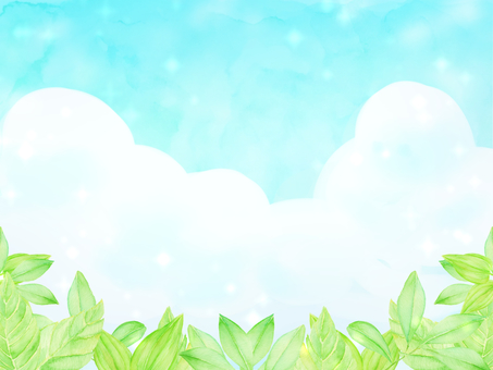 Watercolor blue sky and leaf background