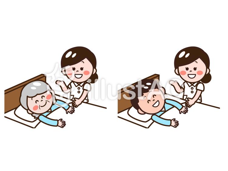 患者さん高齢者と看護師セットイラスト No 1098248無料イラスト