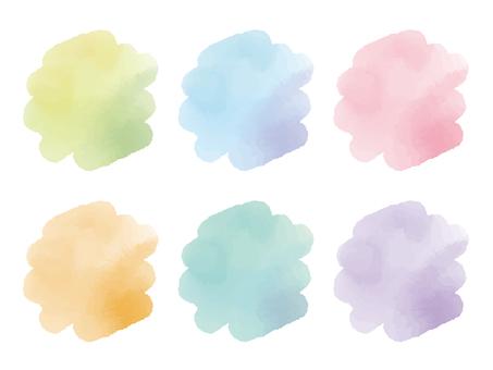 [벡터] 수채화 풍 모와모와 세트