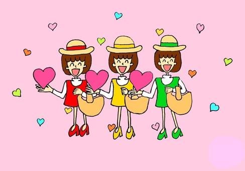三個女孩攜帶幸福(粉紅色)