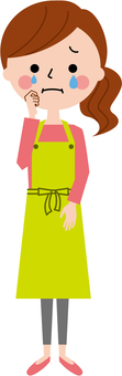 Cry apron woman