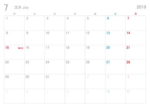 2019年7月カレンダー月曜始まり