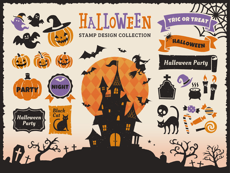 Halloween silhouette design set