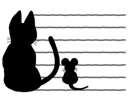 猫 ネズミ シルエット メモ