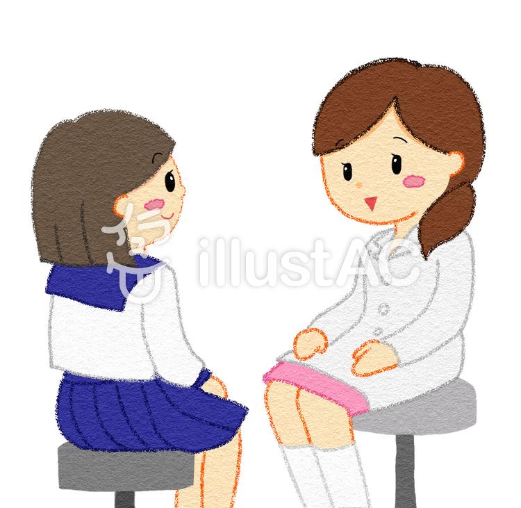 保健室 相談する女子イラスト No 1423352無料イラストなら