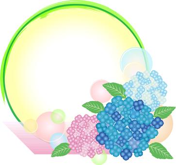 Hydrangea round frame decoration 01