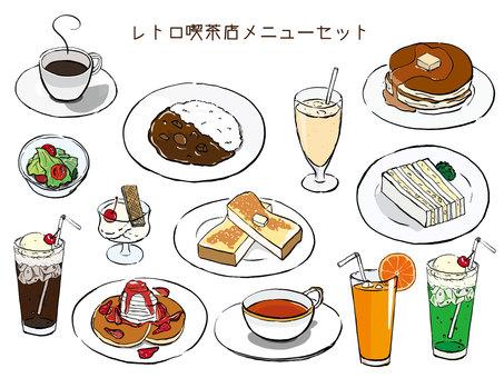 Retro coffee shop menu set