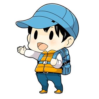 A boy climbing a mountain