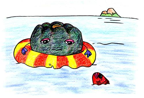 Pumpkin sea bathing