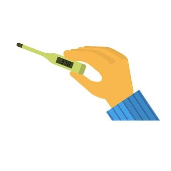 Hand with a thermometer