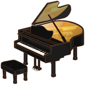 "Grand piano (with chair) ""Black"""