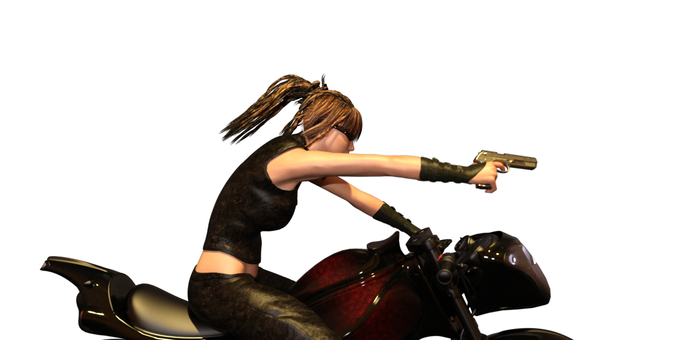 A woman aiming an enemy with a handgun from a motorcycle