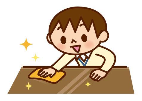 Boy to wipe the desk