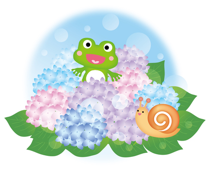 Hydrangea and frogs