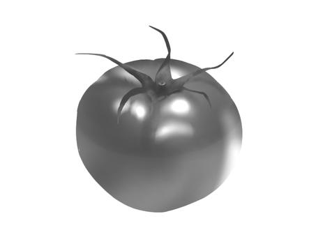 Realistic tomato (black and white)