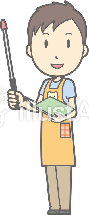 保育士男性-指示棒1左斜め-全身のイラスト