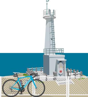 灯台とロードバイク3響灘