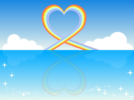 Heart rainbow and sea - Horizontal size
