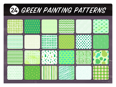 Hand-drawn wind seamless pattern 【green】
