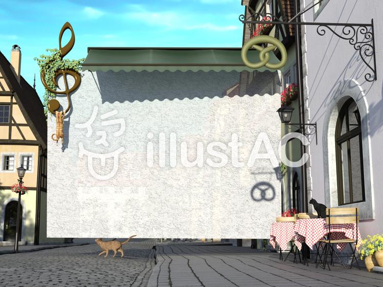 中世建築風街の風景と猫とメッセージカードのイラスト