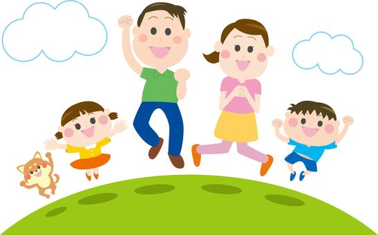 초원에서 점프하는 가족