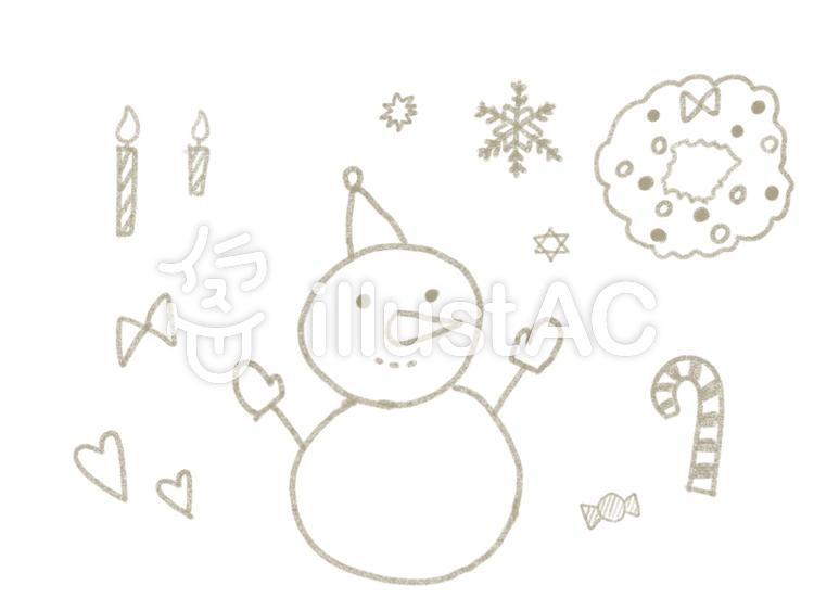 オシャレな手書き雪だるま冬の素材セットイラスト No 965962無料
