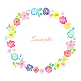 カラフルな水彩の花フレーム