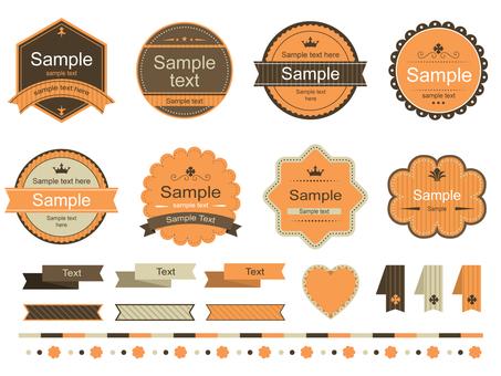 Various retro labels in oranges