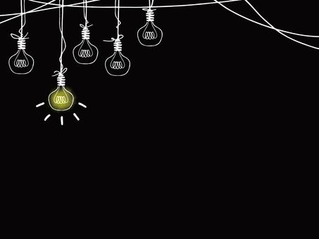 白熱電球 線画背景イラスト(白色)