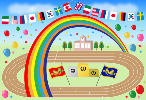 Athletic meet in the rainbow (with background)