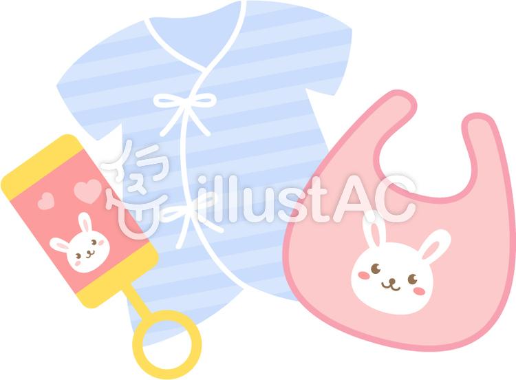 赤ちゃんの服とガラガライラスト No 1102724無料イラストなら