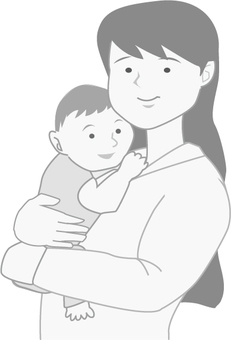 Mother and child (monochrome)