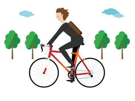 Men commuting by road bike