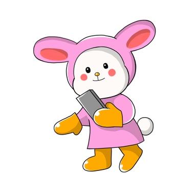 看著智能手機的兔子