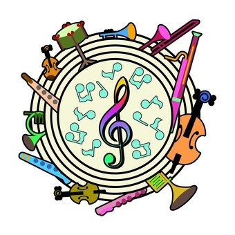 Musical note and instrument and 5 line music