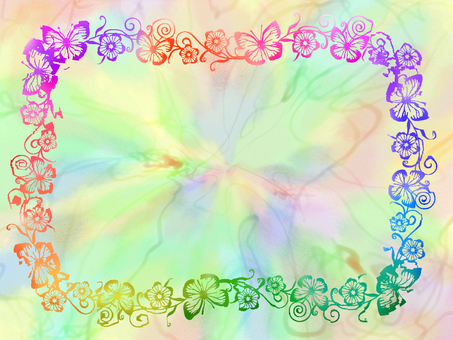 Rainbow color butterfly colorful frame